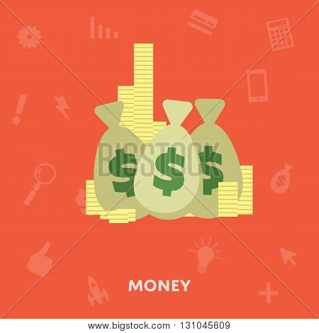 Money in the bag isolated on a white background flat abstract isolated vector illustration