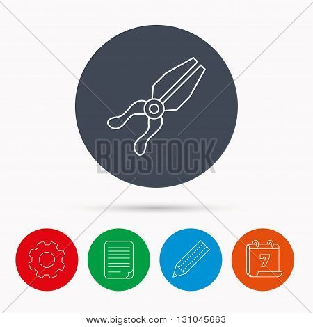 Pliers icon. Repairing fix tool sign. Calendar, cogwheel, document file and pencil icons.