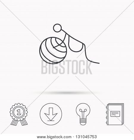 Gymnastic for pregnant icon. Pilates fitness sign. Sport workout symbol. Download arrow, lamp, learn book and award medal icons.