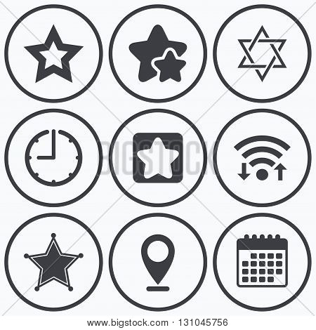 Clock, wifi and stars icons. Star of David icons. Sheriff police sign. Symbol of Israel. Calendar symbol.