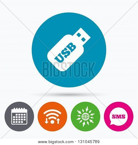 Wifi, Sms and calendar icons. Usb Stick sign icon. Usb flash drive button. Go to web globe.