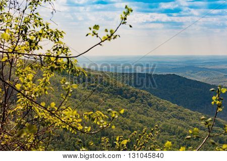 View of Cumberland Mountains and valley from overlook at Frozen Head State Park