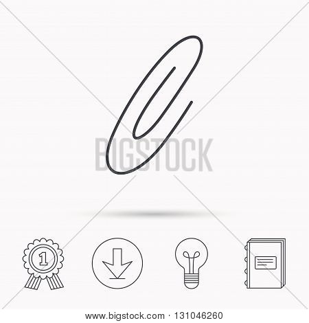 Safety pin icon. Paperclip sign. Download arrow, lamp, learn book and award medal icons.