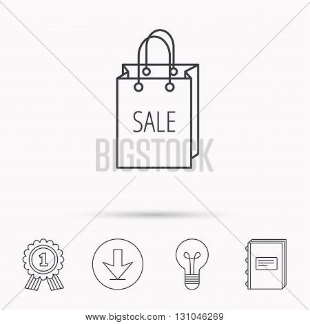 Sale shopping bag icon. Discount handbag sign. Download arrow, lamp, learn book and award medal icons.