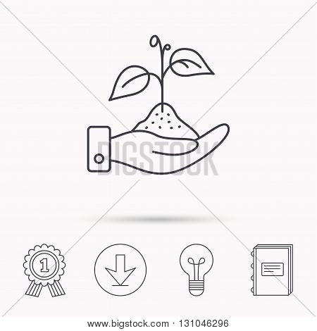 Save nature icon. Hand with plant sprout sign. Ecology environment symbol. Download arrow, lamp, learn book and award medal icons.