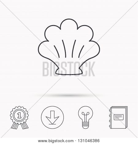 Sea shell icon. Seashell sign. Mollusk shell symbol. Download arrow, lamp, learn book and award medal icons.