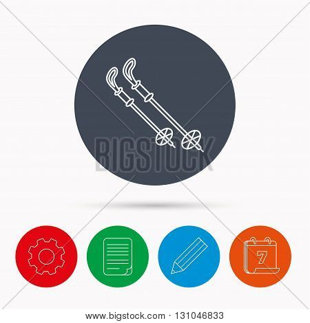 Skiing icon. Ski sticks or poles sign. Winter sport symbol. Calendar, cogwheel, document file and pencil icons.
