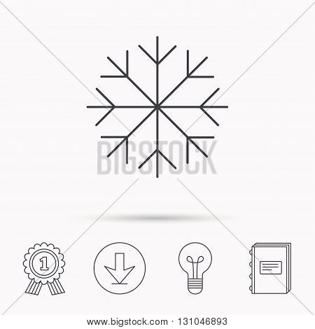Snowflake icon. Snow sign. Air conditioning symbol. Download arrow, lamp, learn book and award medal icons.