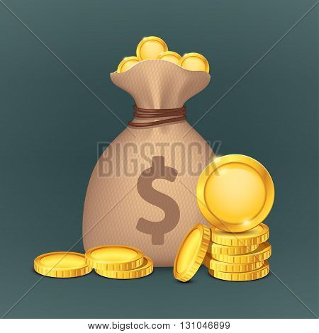 illustration of cloth bag for money with gold coins