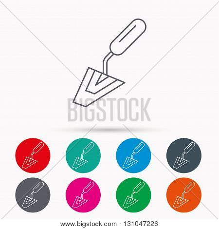 Spatula icon. Finishing repair tool sign. Linear icons in circles on white background.