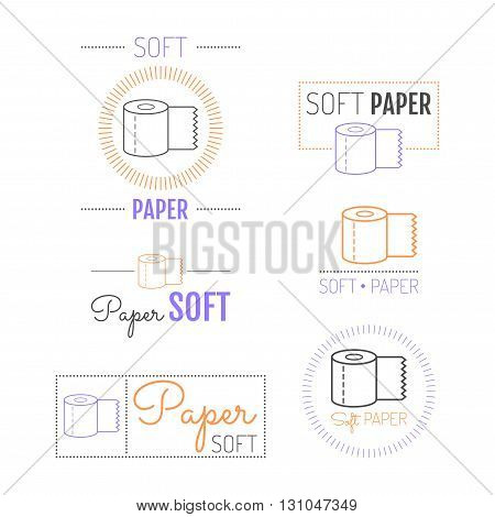 Toilet paper icon, emblems and labels. Set of logos. Vector