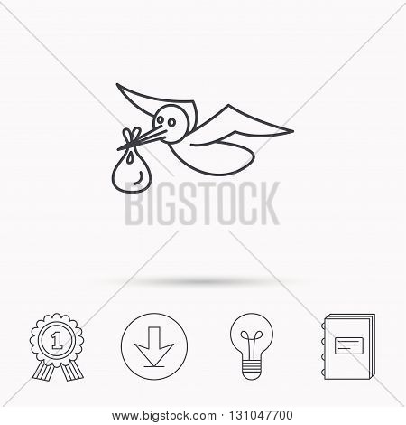 Stork with sack icon. Newborn baby symbol. Download arrow, lamp, learn book and award medal icons.
