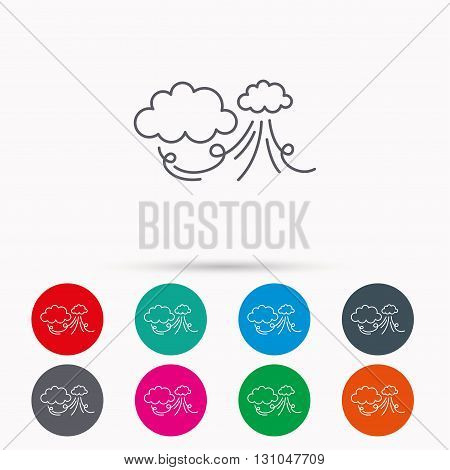 Wind icon. Cloud with storm sign. Strong wind or tempest symbol. Linear icons in circles on white background.