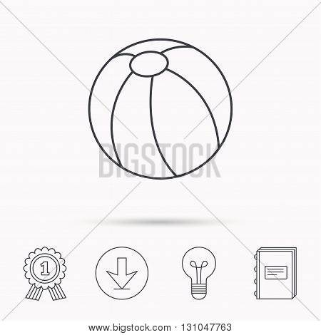 Swimming ball icon. Beach toy sign. Download arrow, lamp, learn book and award medal icons.