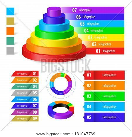 Set of colorful color infographics and order