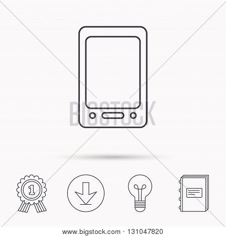 Tablet PC icon. Touchscreen pad sign. Download arrow, lamp, learn book and award medal icons.