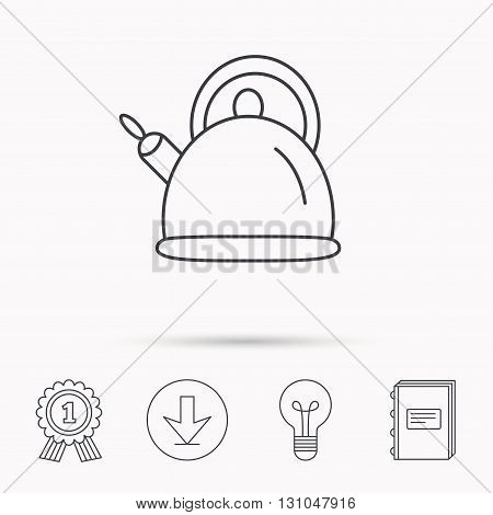 Teapot icon. Kitchen kettle sign. Hot drink appliance tool. Download arrow, lamp, learn book and award medal icons.