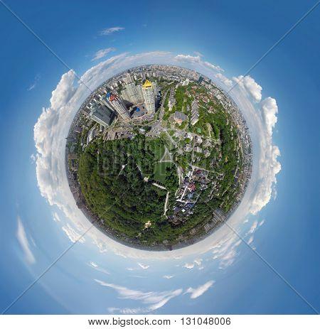aerial view of Kiev, Ukraine.