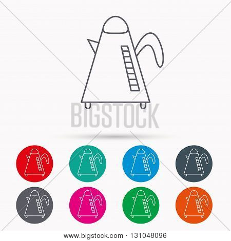 Teapot icon. Kitchen kettle sign. Hot drink appliance tool. Linear icons in circles on white background.