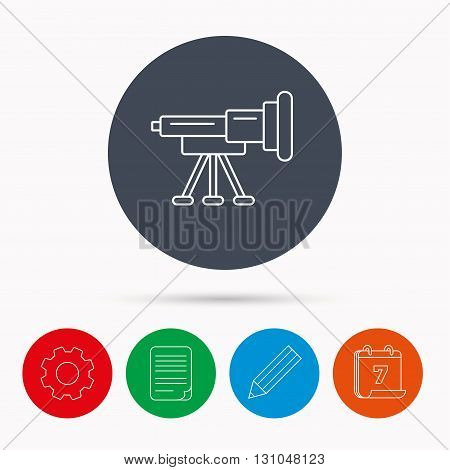 Telescope icon. Spyglass sign. Astronomy magnify lens symbol. Calendar, cogwheel, document file and pencil icons.