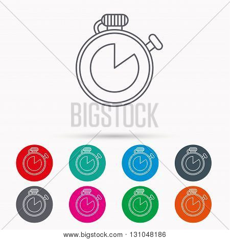 Timer icon. Stopwatch sign. Sport competition symbol. Linear icons in circles on white background.