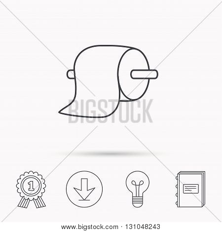 Toilet paper icon. WC hygiene sign. Download arrow, lamp, learn book and award medal icons.