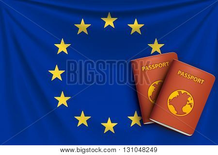 illustration of realistic flag of euro union with passports