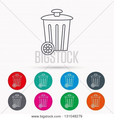 Recycle bin icon. Trash container sign. Street rubbish symbol. Linear icons in circles on white background.