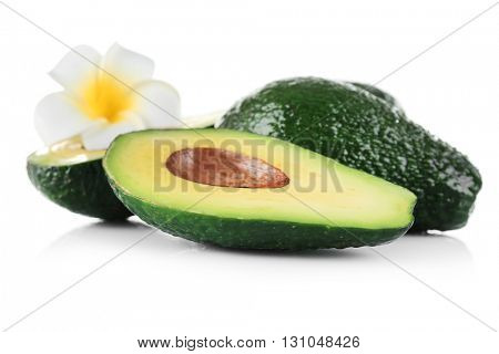 Fresh avocados isolated on white background