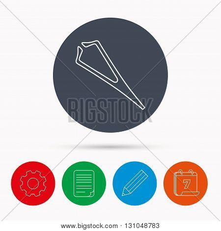Medical tweezers icon. Cosmetic equipment sign. Calendar, cogwheel, document file and pencil icons.