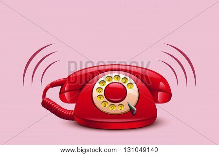 illustration of red ringing retro telephone on red background