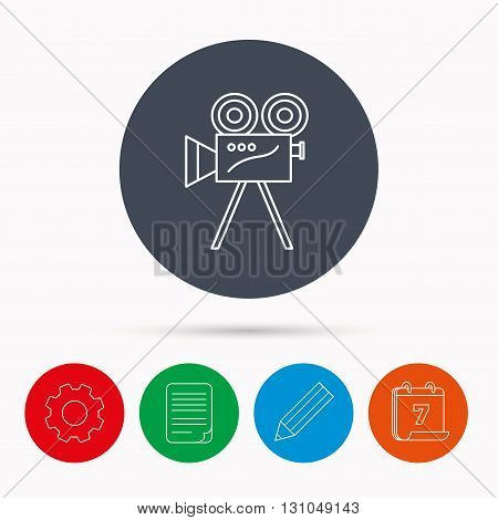 Video camera with reel icon. Retro cinema sign. Calendar, cogwheel, document file and pencil icons.
