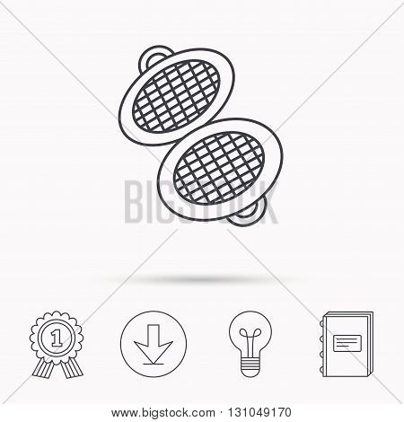 Waffle iron icon. Kitchen baking tool sign. Download arrow, lamp, learn book and award medal icons.