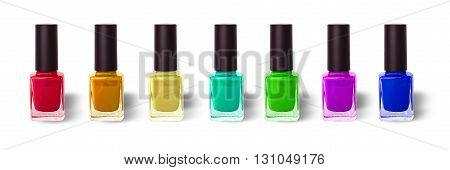 bottles with colored nail lacquers carved on a white background