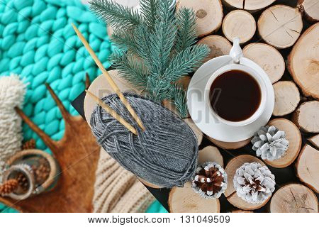 Cup of hot drink in living room. Comfortable winter weekend or holidays at home