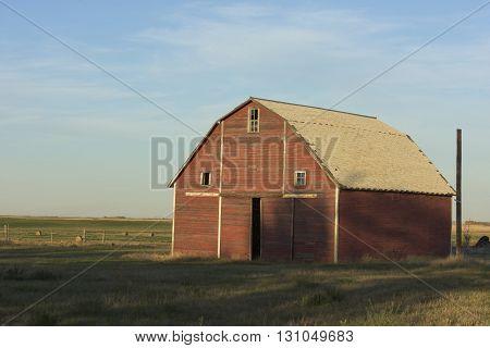 An Old Red Barn in North Dakota