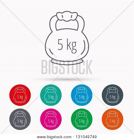 Weight icon. Weightlifting barbell sign. Power fitness symbol. Linear icons in circles on white background.