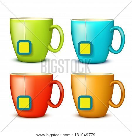 illustration of set of four cups different color