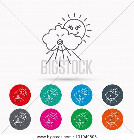 Wind icon. Cloud with sun and storm sign. Strong wind or tempest symbol. Linear icons in circles on white background.