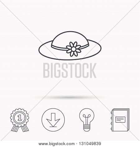 Female hat with flower icon. Women headdress sign. Download arrow, lamp, learn book and award medal icons.
