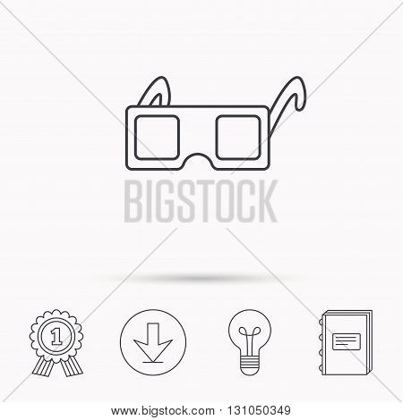 3D glasses icon. Cinema technology sign. Vision effect symbol. Download arrow, lamp, learn book and award medal icons.