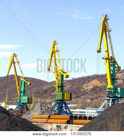 crane at the scrapyard in the seaport in Kamchatka