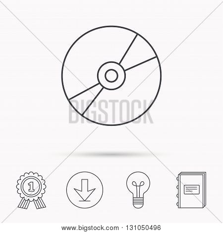 CD or DVD icon. Multimedia sign. Download arrow, lamp, learn book and award medal icons.