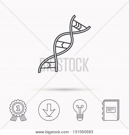 DNA icon. Genetic evolution structure sign. Biology science symbol. Download arrow, lamp, learn book and award medal icons.