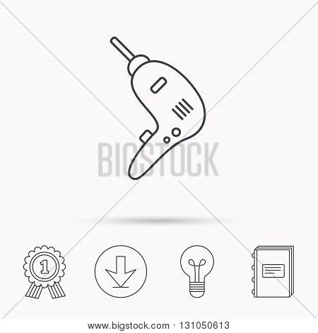Drill tool icon. Electric jack-hammer sign. Download arrow, lamp, learn book and award medal icons.