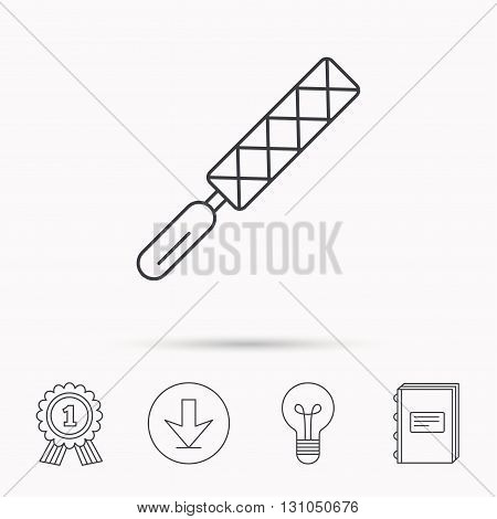 File tool icon. Carpenter equipment sign. Download arrow, lamp, learn book and award medal icons.