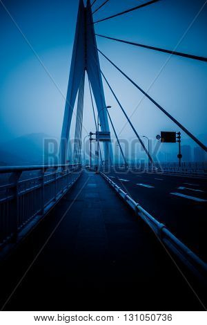 yangtze river bridge,chongqing china,blue toned image.