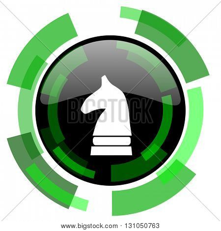 chess horse icon, green modern design glossy round button, web and mobile app design illustration