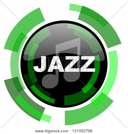 jazz music icon, green modern design glossy round button, web and mobile app design illustration