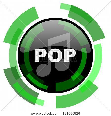 pop music icon, green modern design glossy round button, web and mobile app design illustration